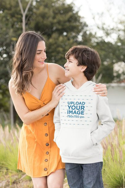 Pullover Hoodie Mockup of a Boy Standing with His Mom 32644