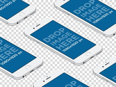 White iPhones in Rows Over a Transparent Background Mockup a12268