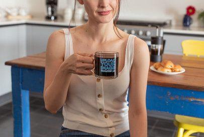 11 oz Glass Mug Mockup Featuring a Woman Drinking a Coffee 31750