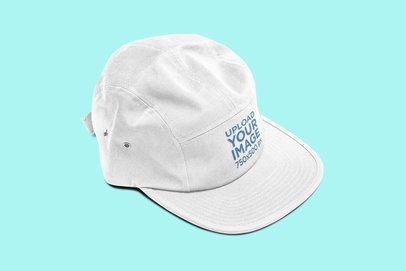 Mockup of a 5 Panel Hat Placed on a Solid Color Surface 3047-el1