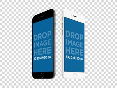 Black and White iPhones PNG Mockup in Angled Portrait Position a11873