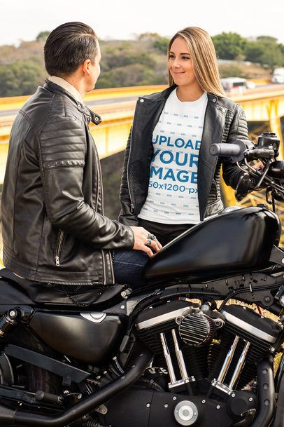 T-Shirt Mockup Featuring a Woman Talking to a Biker 31858