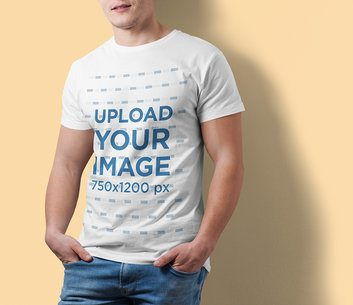 Cropped Faced Mockup of a Man Wearing a Customizable T-Shirt at a Studio 2977-el1