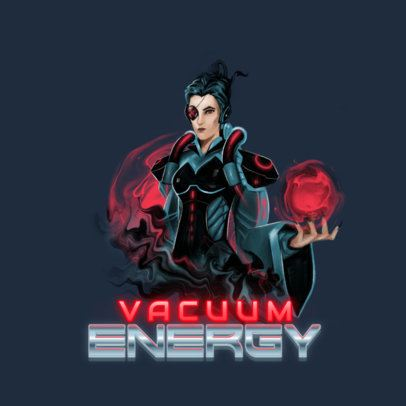 Gaming Logo Template Featuring an Evil Female Character Inspired by Moira From Overwatch 3000l