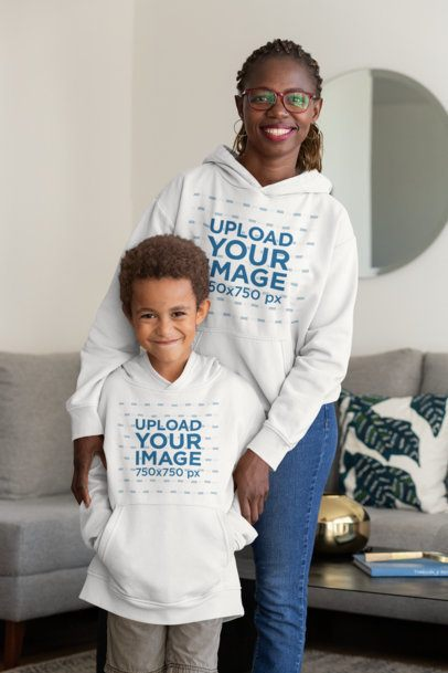 Mockup of a Kid and His Mom Wearing Pullover Hoodies 32640