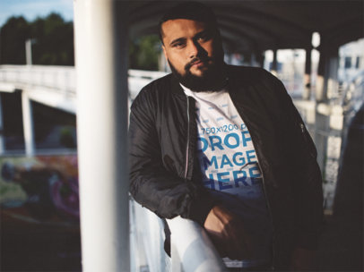 Plus Size Tee Mockup of a Cool Guy on a Street Bridge a12280