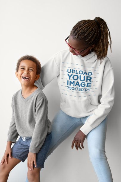 Hoodie Mockup of a Mother with Her Boy 32649