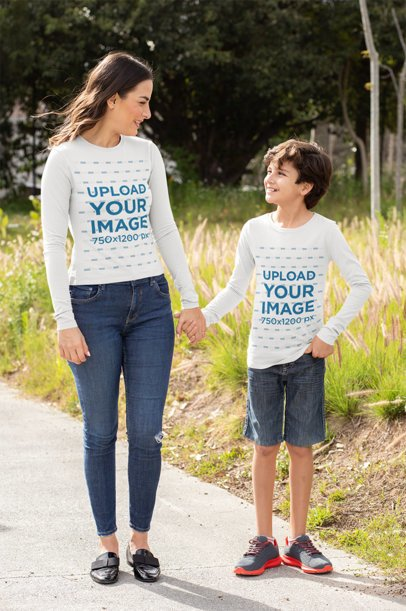 Long-Sleeve Tee Mockup Featuring a Family of Two Holding Hands at the Park 32637