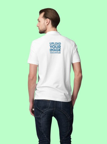 Back View Mockup of a Man Wearing a Polo Shirt in a Studio 3191-el1