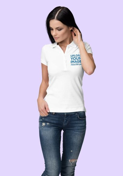 Polo Shirt Mockup Featuring a Woman Smiling at a Studio 3192-el1