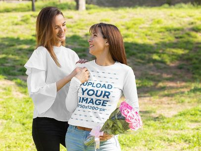 Long-Sleeve Tee Mockup of a Mom and Daughter at the Park 32655
