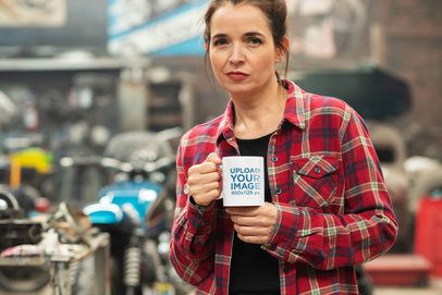 11 oz Coffee Mug Mockup of a Woman in a Workshop 31792