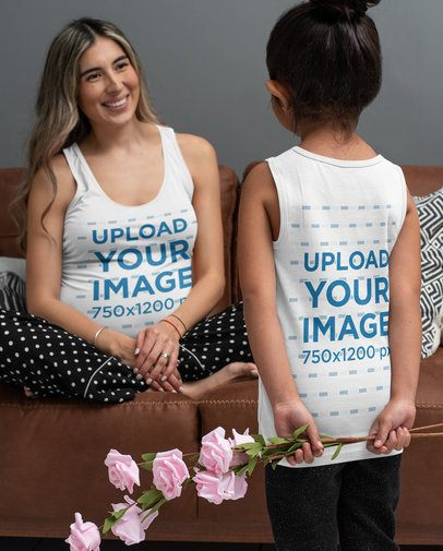 Tank Top Mockup of a Girl Giving Flowers to Her Pregnant Mom 32267