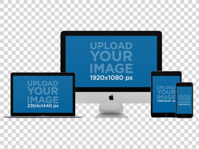 iMac, MacBook Pro, iPad Mini and iPhone Mockup Over a PNG Background a11876