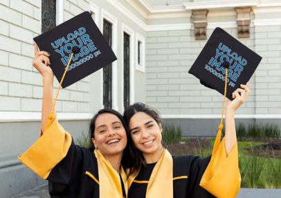 Graduation Cap Mockup Featuring Two Friends on Their Graduation Day 32596