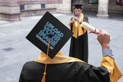 Graduation Cap Mockup Featuring a Man Taking a Picture of His Friend 32618