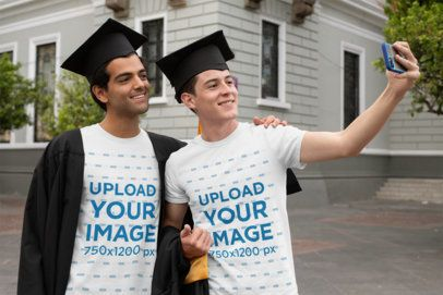 T-Shirt Mockup of Two Friends Taking a Selfie on Graduation Day 32631