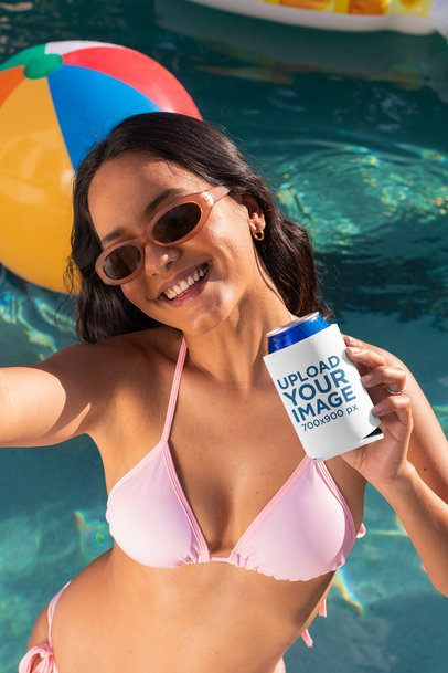 Mockup of a Woman Holding a Can in a Koozie at a Pool Party 32691