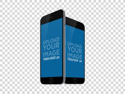 iPhone and iPhone Plus in Angled Portrait Position Mockup a11922