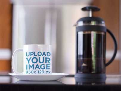 Coffee Cup Mockup in a Modern Kitchen a12273