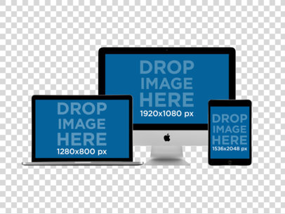 MacBook Pro + iMac with Black iPad Mini in Front View Mockup a11884
