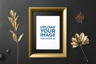 Letterhead Mockup of a Golden Frame Surrounded by Shiny Ornaments 3163-el1