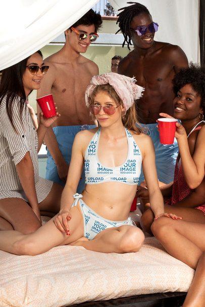 Bikini Swimsuit Mockup Featuring a Spring Breaker Having Fun 32706