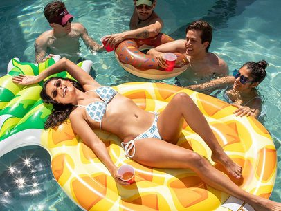 Bikini Swimsuit Mockup Featuring a Woman in a Pool with Her Friends 32673