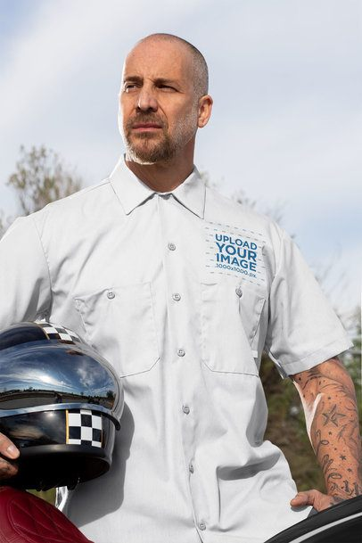 Button-Up Shirt Featuring a Rider Holding His Helmet 31790