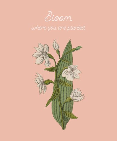 Illustrated T-Shirt Design Generator Featuring Flower Graphics and a Quote 393a-el1