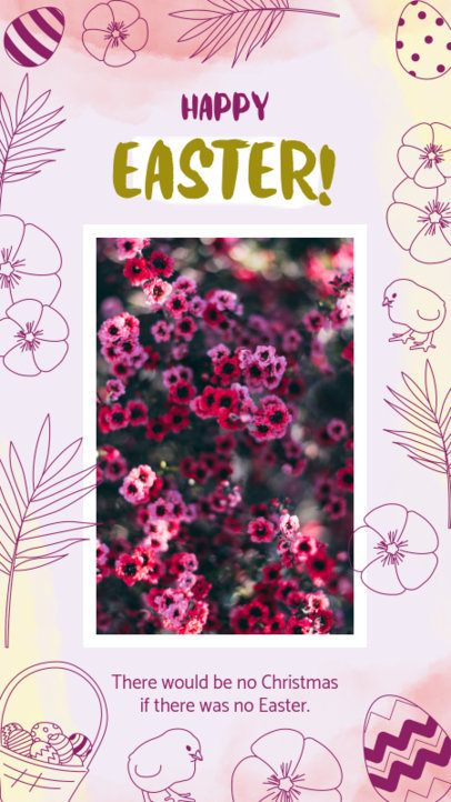 Easter-Themed Instagram Story Maker with Flower Drawings 2322e