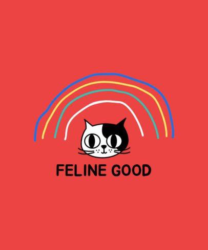 Kids T-Shirt Design Template Featuring a Cartoonish Cat Illustration 408c-el1