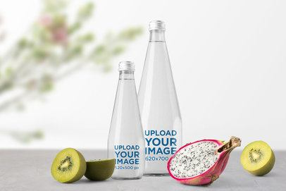 Mockup of a Two Water Bottles Featuring Tropical Fruits 3154-el1
