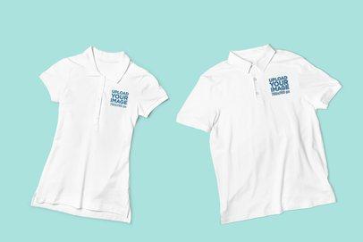 Mockup of Two Women's and Men's Polo Shirt Lying Flat 3202-el1