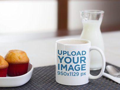 Mug Mockup with Muffins and Milk a12272