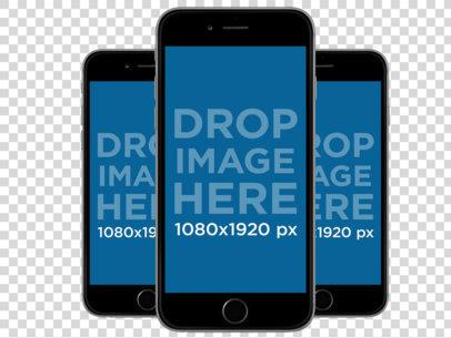 Black iPhones in Portrait Position (Front View) a11930
