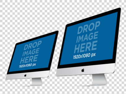 Two iMacs Over a PNG Background in Angled View Responsive Mockup a11898
