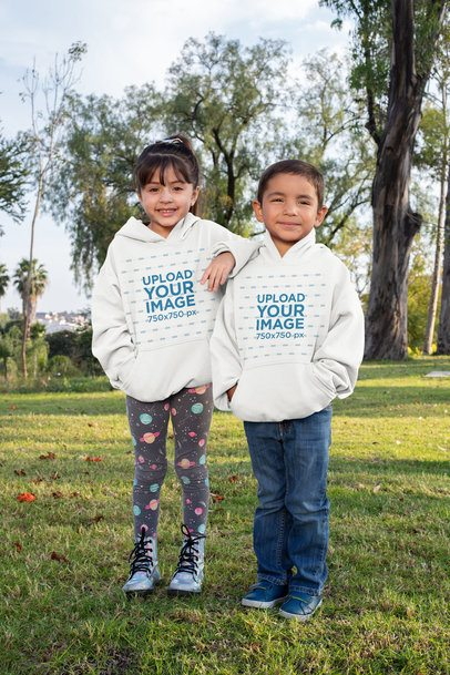 Hoodie Mockup of a Boy and a Girl Standing with Each Other 31668
