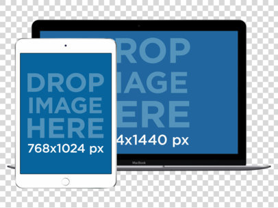 iPad Mini and MacBook Pro Responsive PNG Mockup a12183