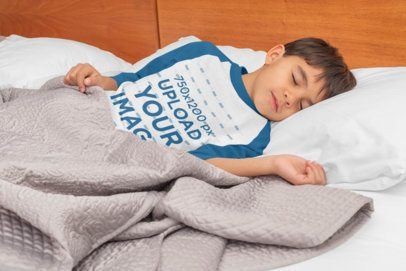 Raglan Three Quarter Sleeves Tee Mockup of a Boy Sleeping in Bed 32175