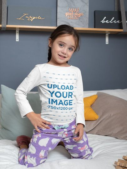 Long Sleeve Tee Mockup Featuring a Girl on a Bed 31693