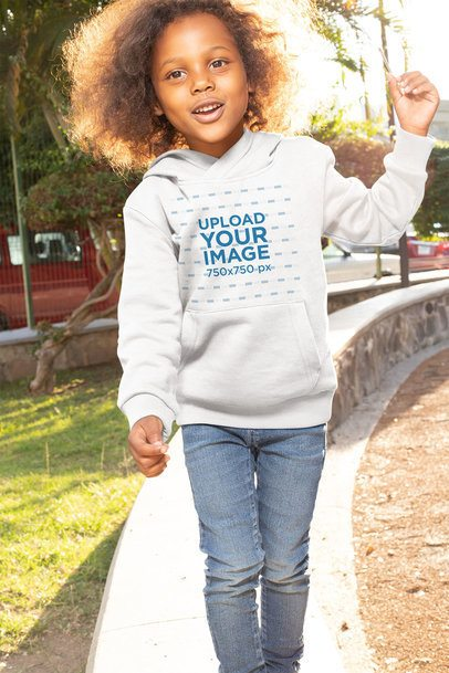 Pullover Hoodie Mockup of a Girl with Natural Hair at a Park 32189