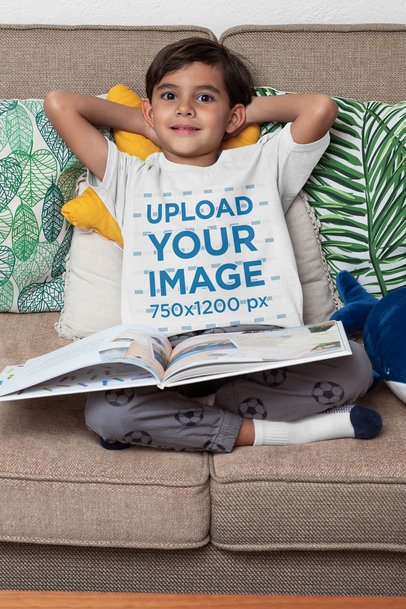 T-Shirt Mockup of a Boy Relaxing Reading a Book 32163