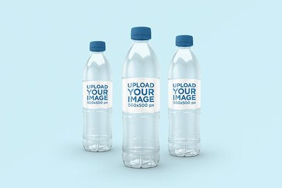 Mockup of Three Water Bottles Featuring a Plain Background 3067-el1