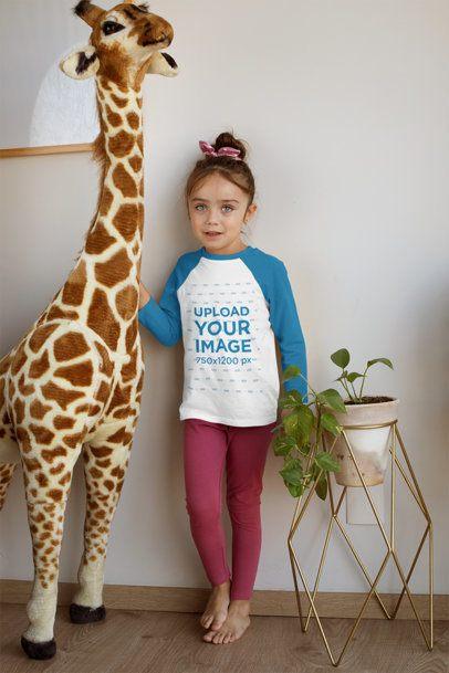 Raglan Tee Mockup Featuring a Girl Standing Next to a Stuffed Animal 31692
