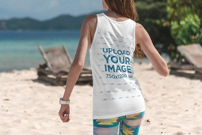 Back View Mockup of a Woman Wearing a Tank Top at the Beach 3314-el1