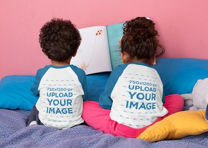 Back View Raglan T-Shirt Mockup Featuring Two Toddlers Sitting on a Bed 32162
