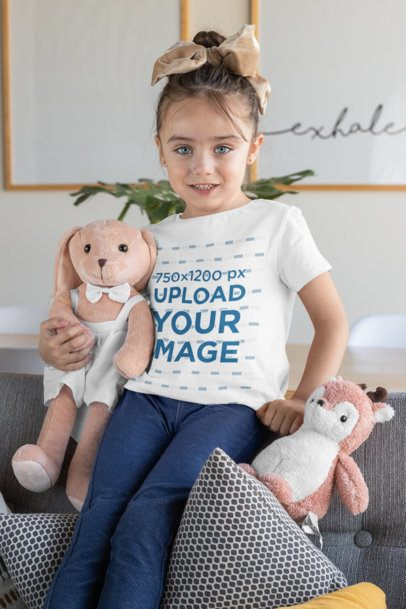 T-Shirt Mockup of a Girl Holding Two Stuffed Animals 31683