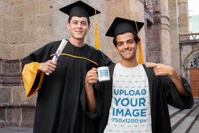 T-Shirt Mockup of Two Friends at their Graduation Day with a Coffee Mug 32625