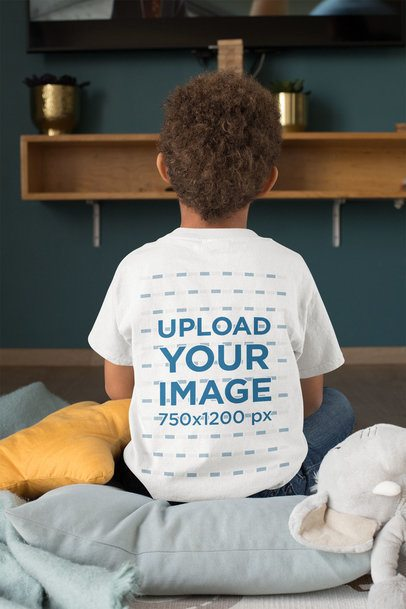 Back-View T-Shirt Mockup of a Kid Watching TV 31641